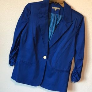 Blue jacket blazer with rouched sleeves